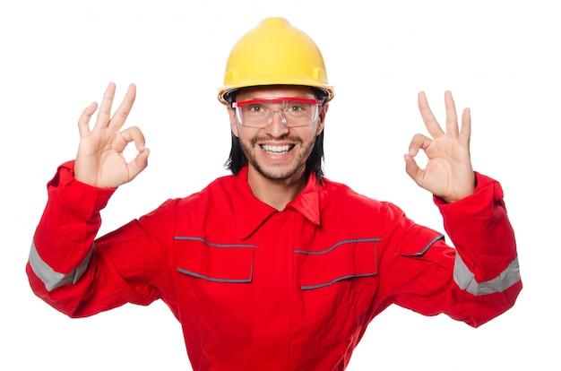 Homem, desgastar, vermelho, coveralls, isolado, branco