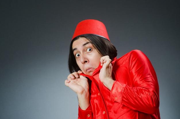 Homem, desgastar, vermelho, fez, chapéu