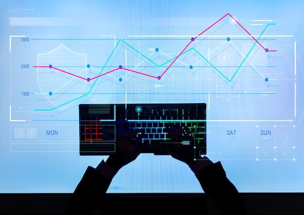 Homem, digitando, gerando, estoque, mercado, dados