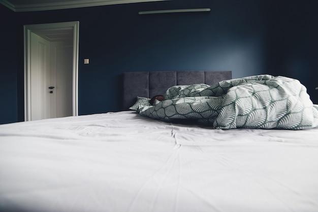 Homem dormindo na cama em casa. design de interiores do quarto de cor azul escuro. conceito de minimalismo, interior, conforto e roupa de cama. cama no quarto de casa.