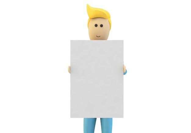 Homem dos desenhos animados segurando um cartaz em branco