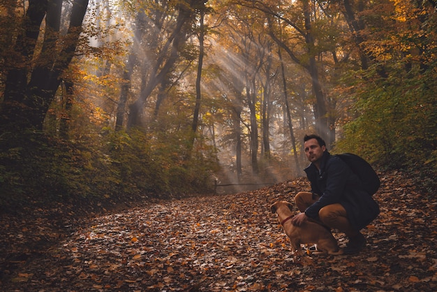 Homem e cachorro na floresta