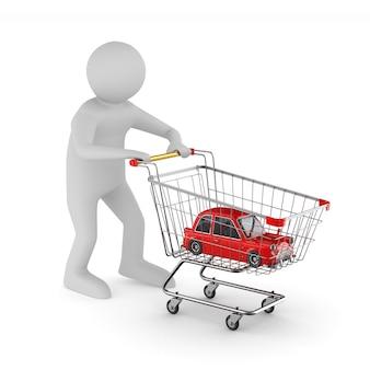Homem e carrinho de compras com o carro em branco.