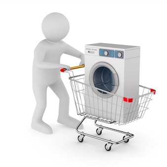 Homem e compras com carrinho de máquina de lavar em branco.