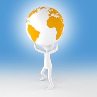 Homem e globo de ouro sobre fundo azul. renderização de imagem 3d