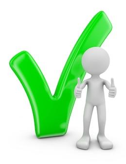 Homem e marca de verificação volumétrica verde em um fundo branco.