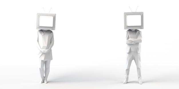 Homem e mulher com uma televisão velha em vez de uma cabeçatelevision audiência copiar espaço