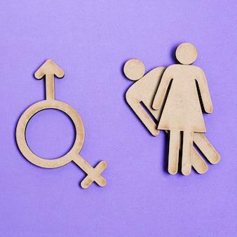 Homem e mulher iguais direitos e símbolo de gênero