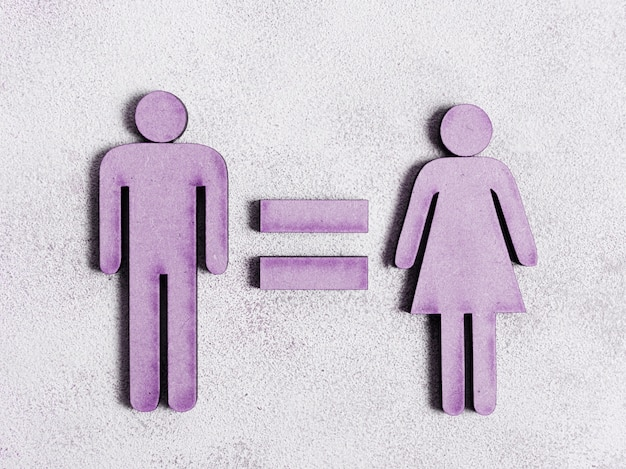 Homem e mulher iguais direitos em tons de violeta