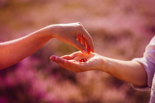 Homem e mulher se tocam mãos no campo