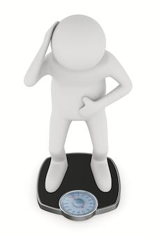 Homem e peso escala chão em fundo branco. ilustração 3d isolada