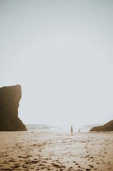 Homem e seu cachorro brincando na praia