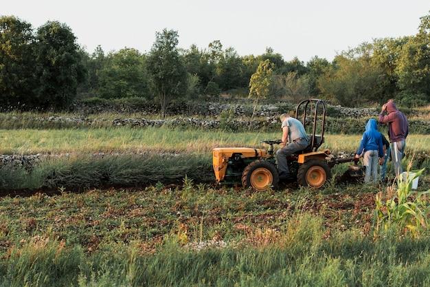 Homem e seus filhos cultivando a colheita
