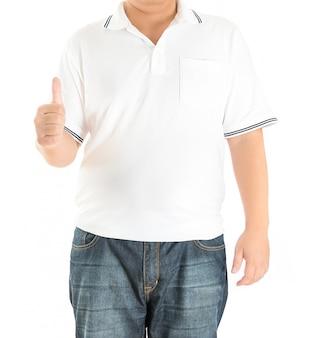 Homem, em, branca, polo, t-shirt, ligado, um, fundo branco