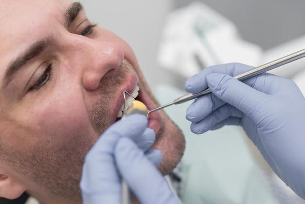 Homem, em, dentista