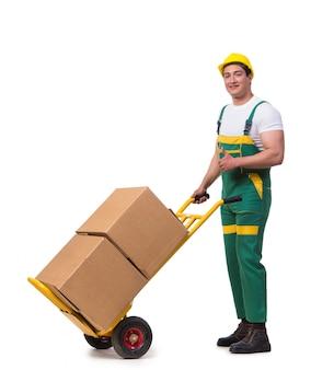 Homem, em movimento, caixas, isolado, ligado, a, fundo branco