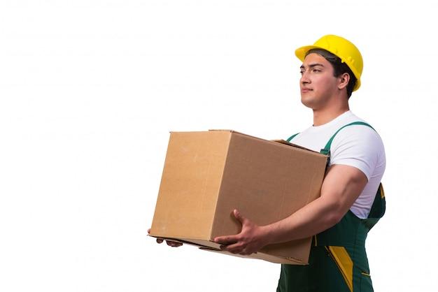 Homem, em movimento, caixas, isolado