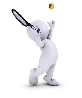 Homem em um saque de tênis