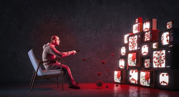 Homem em uma poltrona assistindo a muitos televisores que transmitem apenas notícias sobre covid-19. monopólio de saúde da mídia
