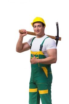Homem, em, verde, coveralls, com, machado, isolado, branco