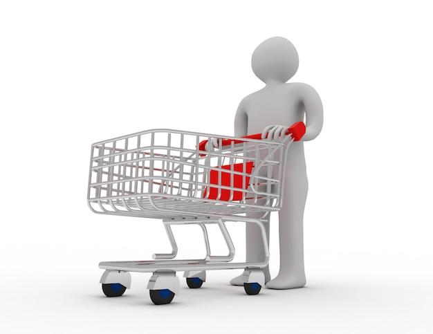 Homem empurrando um carrinho de compras vazio