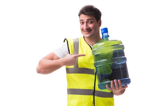 Homem, entregar, garrafa água, isolado