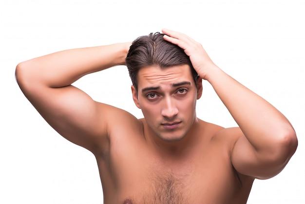 Homem, escovar, seu, cabelo, isolado, branco
