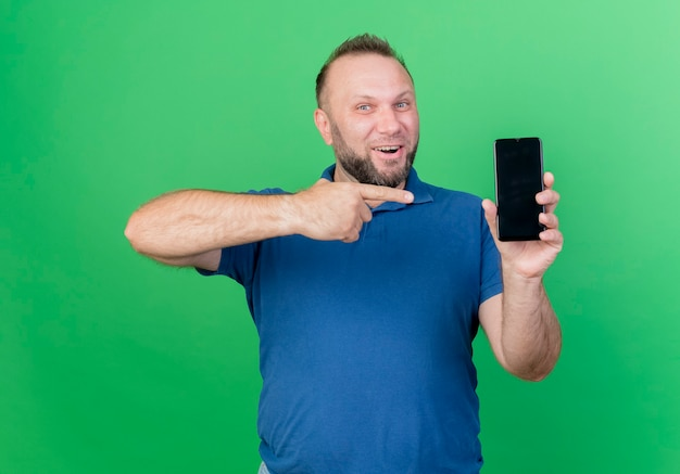 Homem eslavo adulto alegre mostrando e apontando para o celular isolado na parede verde