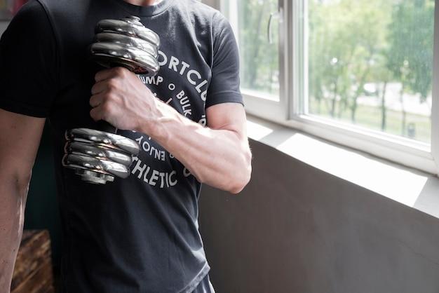 Homem, exercitar, frente, janela