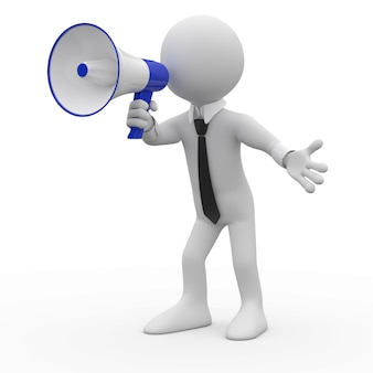Homem falando no megafone branco e azul
