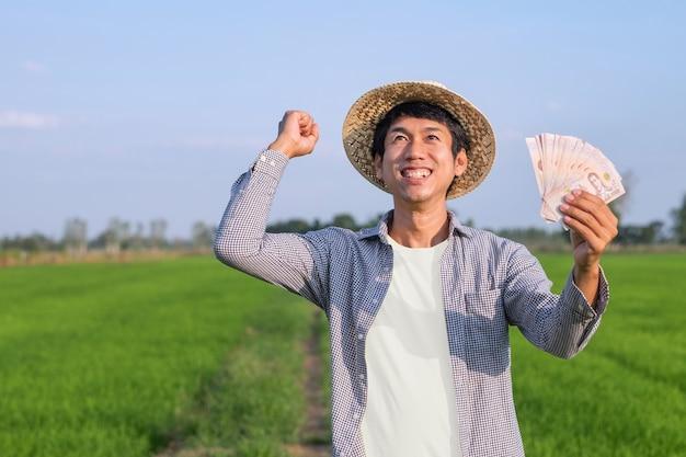 Homem fazendeiro asiático sorrindo e segurando o dinheiro da nota tailandesa em uma fazenda de arroz verde