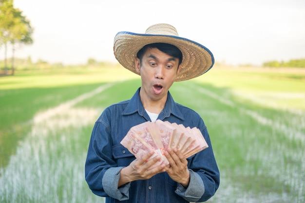 Homem fazendeiro asiático surpresa com cara de surpresa e olhando pilhas de notas em uma fazenda de arroz verde