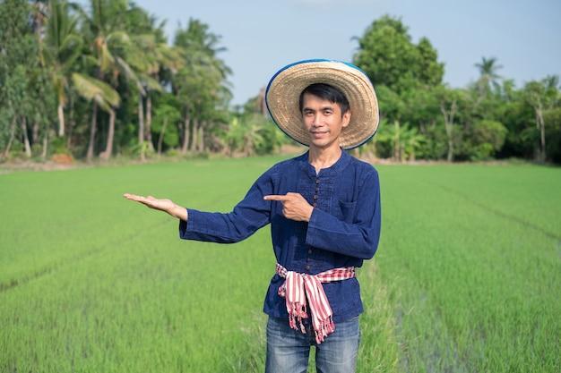 Homem fazendeiro asiático usa traje tradicional em pé e levantou a mão na fazenda de arroz verde. imagem para apresentação.