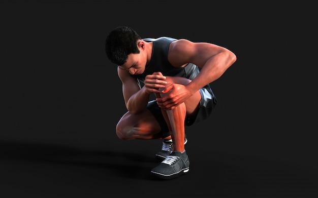 Homem ferido, sentindo dor no joelho isolado no escuro