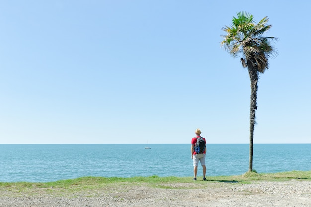 Homem fica perto de uma palmeira alta em um fundo de mar e céu azul
