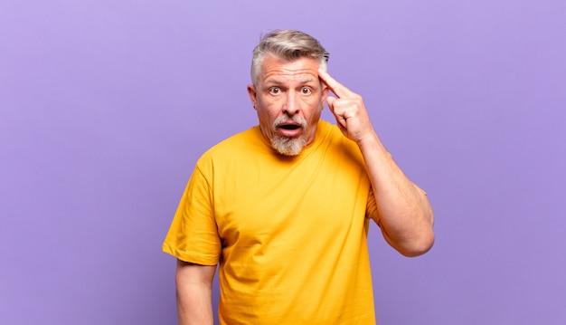 Homem idoso parecendo surpreso, boquiaberto, chocado, percebendo um novo pensamento, ideia ou conceito