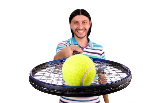 Homem, jogando tênis, isolado, branco