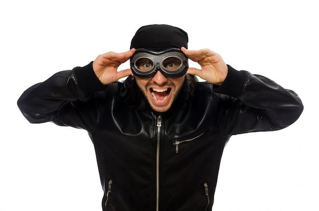 Homem jovem, com, aviador, óculos, isolado