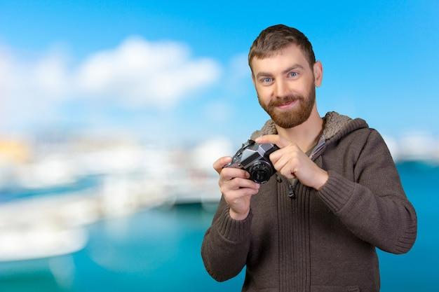 Homem jovem, com, câmera