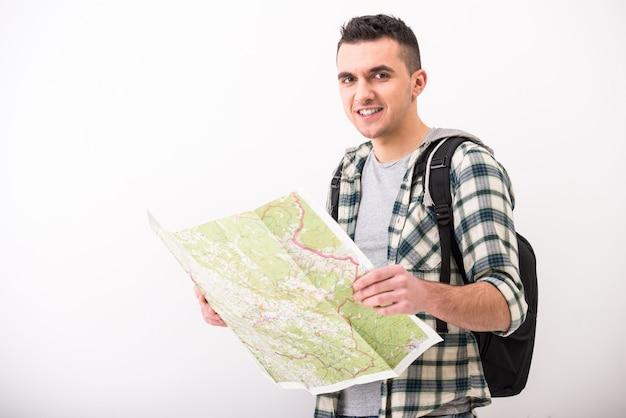 Homem jovem, com, mapa