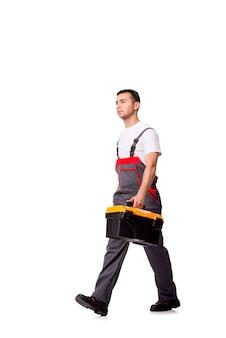 Homem jovem, com, toolkit, toolbox, isolado, branco