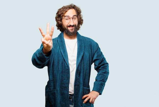 Homem jovem, desgastar, bathrobe, noturna, paleto, contagem regressiva