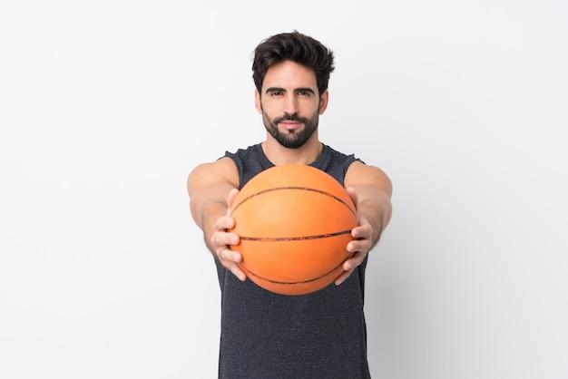 Homem jovem esporte com basquete