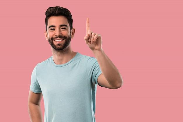 Homem jovem, fazendo, numere um gesto