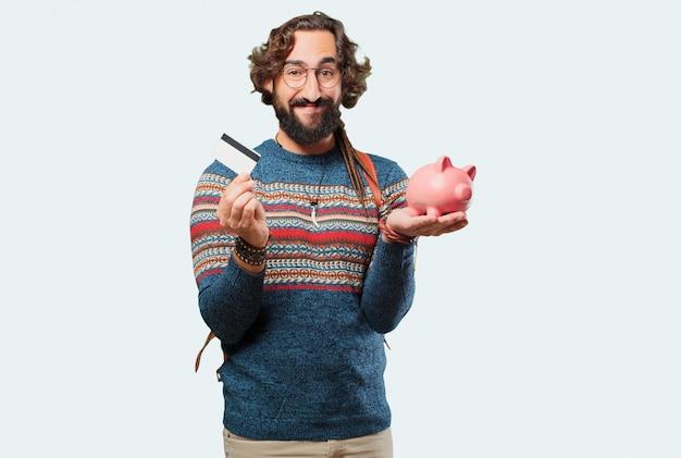 Homem jovem hippie com um cofrinho