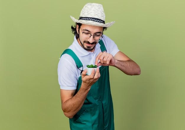 Homem jovem jardineiro barbudo vestindo macacão e chapéu mostrando uma planta em um vaso olhando para ela sorrindo em pé sobre a parede verde