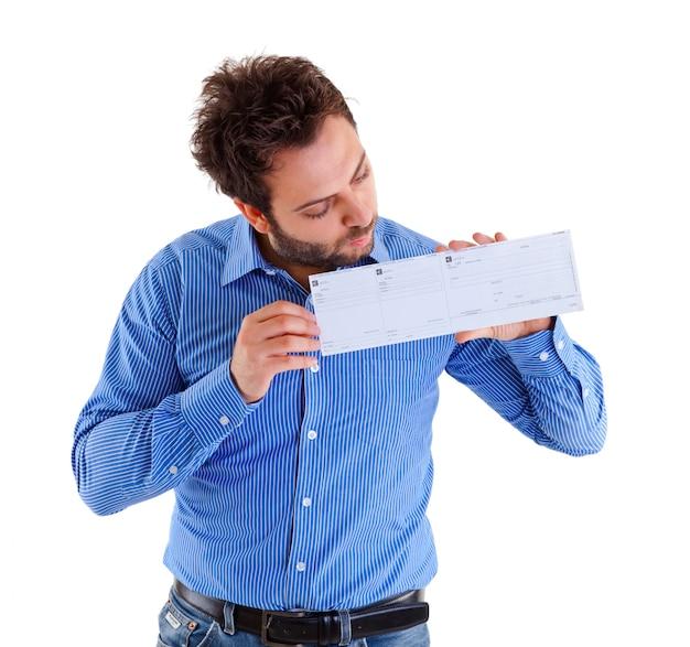 Homem jovem, mostrando, a, ordem dinheiro italiano