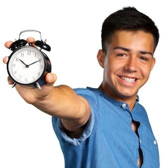 Homem jovem, segurando, um, despertador