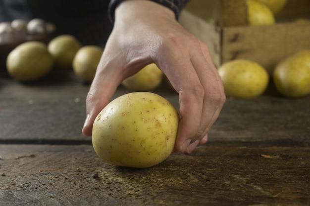 Homem leva batatas frescas da mesa de madeira rústica