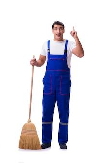 Homem limpando chão isolado no branco
